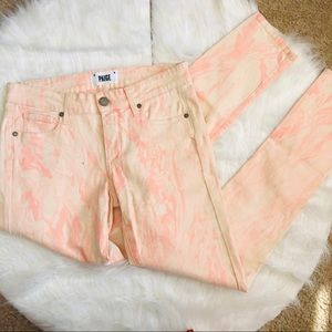 PAIGE Verdugo Skinny Jeans Marble Pink White